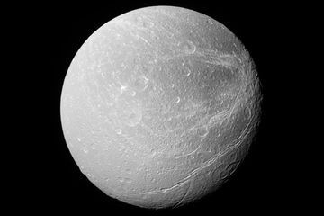 Saturn's moon Dione has stripes like no others in the solar system
